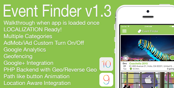 Event Finder Full iOS Application v1.3 - CodeCanyon Item for Sale