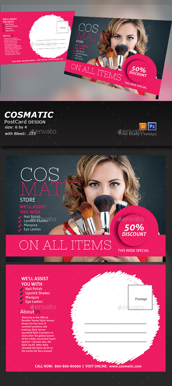 Cosmetic Store Postcard - Flyers Print Templates
