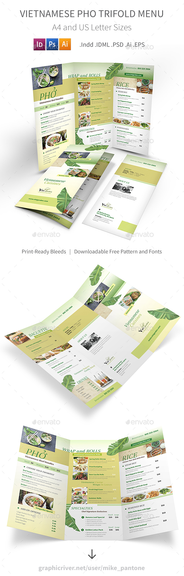 Vietnamese Pho Trifold Menu 3 - Food Menus Print Templates