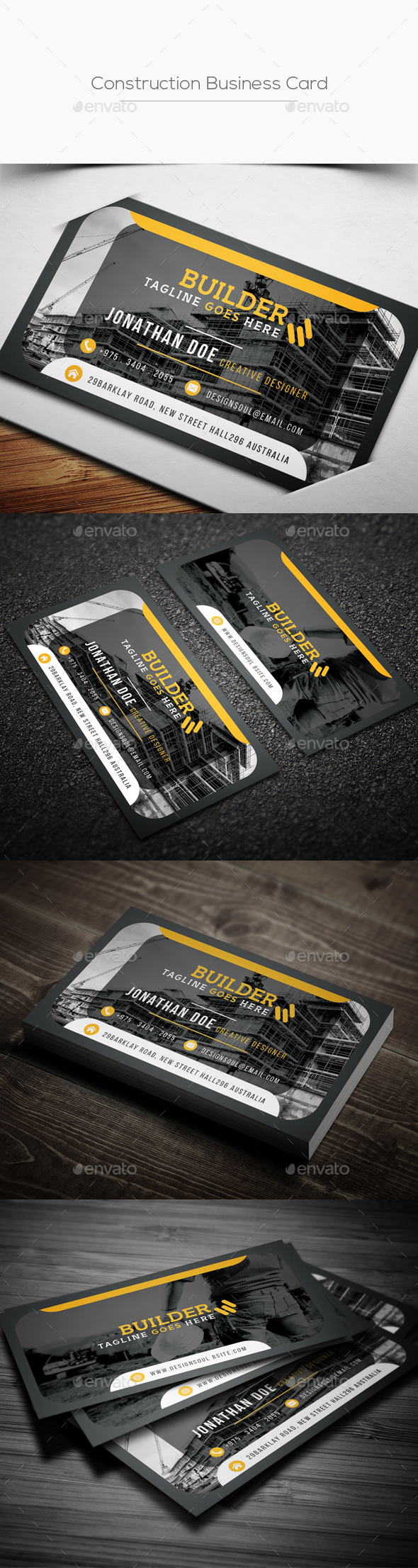 Construction Business Card - Corporate Business Cards