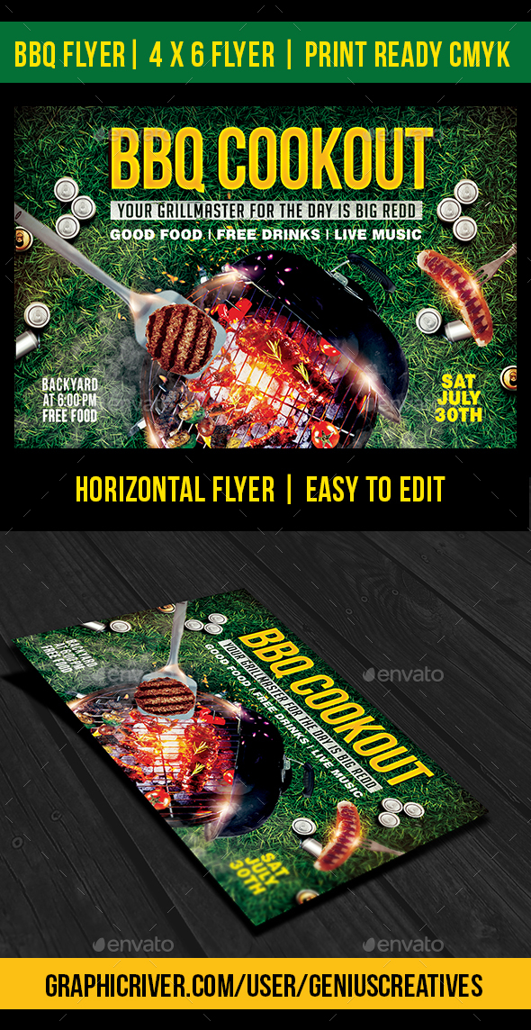 Bbq Cookout 2 Flyer Template By Geniuscreatives | Graphicriver