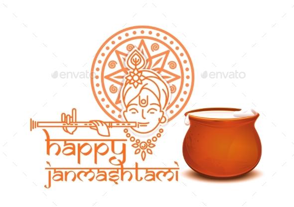 Happy Krishna Janmashtami Concept Design - Religion Conceptual