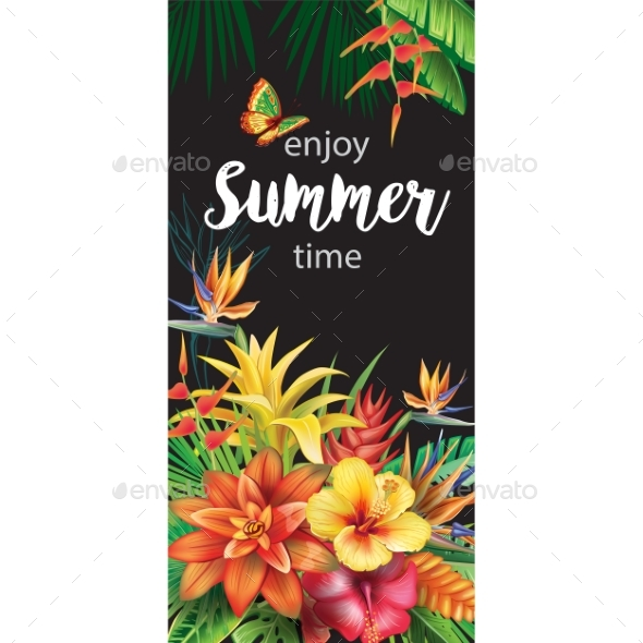 GraphicRiver Template with Tropical Flowers 20288777