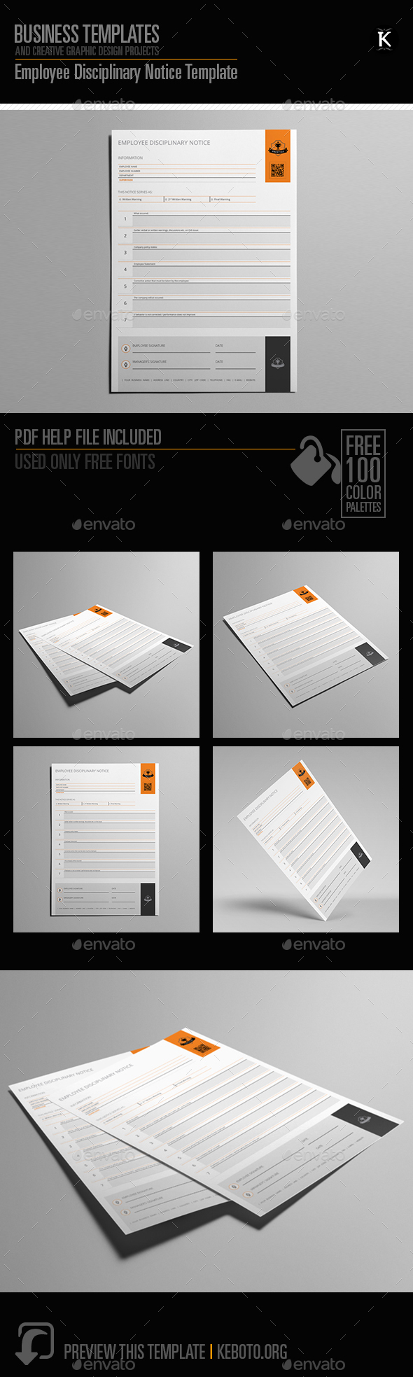 Employee Disciplinary Notice Template - Miscellaneous Print Templates