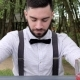 Bartender Behind Bar on Background Park, Barkeeper , Barmen Submit Alcohol, Colored Chilled Drinks - VideoHive Item for Sale