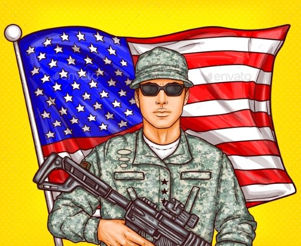 Vector Pop Art Patriotic Illustration a Male