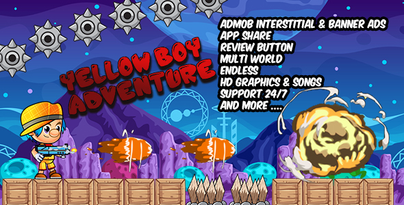 Yellow Boy Adventure, Admob banner & inters | share and review Button & Multi world - CodeCanyon Item for Sale