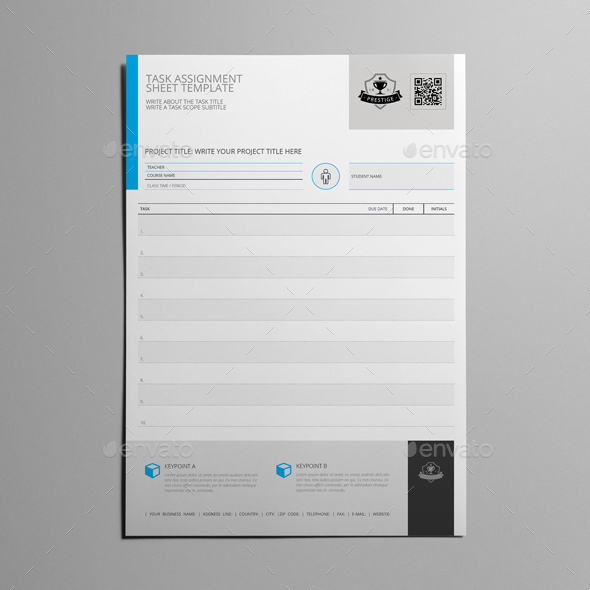 Task Assignment Sheet Template By Keboto  Graphicriver