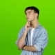 Teenager Is Very Tired and Thoughtful, Reflects on Life. Green Screen
