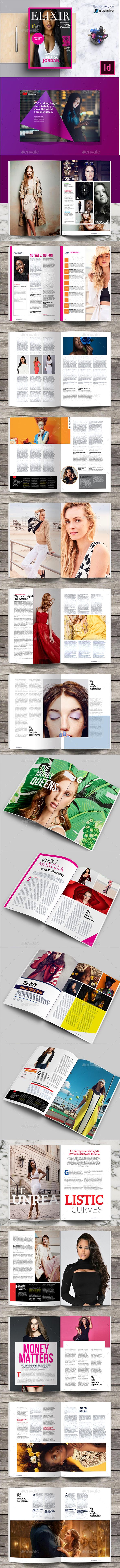 Elixir Fashion Magazine Indesign Template - Magazines Print Templates