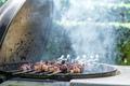Kebab skewers are grilling