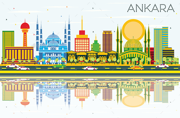 Ankara Skyline with Color Buildings, Blue Sky and Reflections. - Buildings Objects
