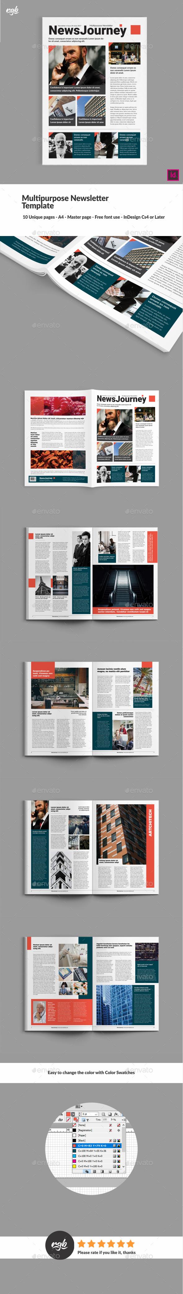 NewsJourney Multipurpose Newsletter Template - Newsletters Print Templates