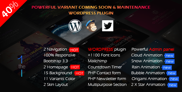 The1 // Variant Coming Soon Wordpress Plugin - CodeCanyon Item for Sale
