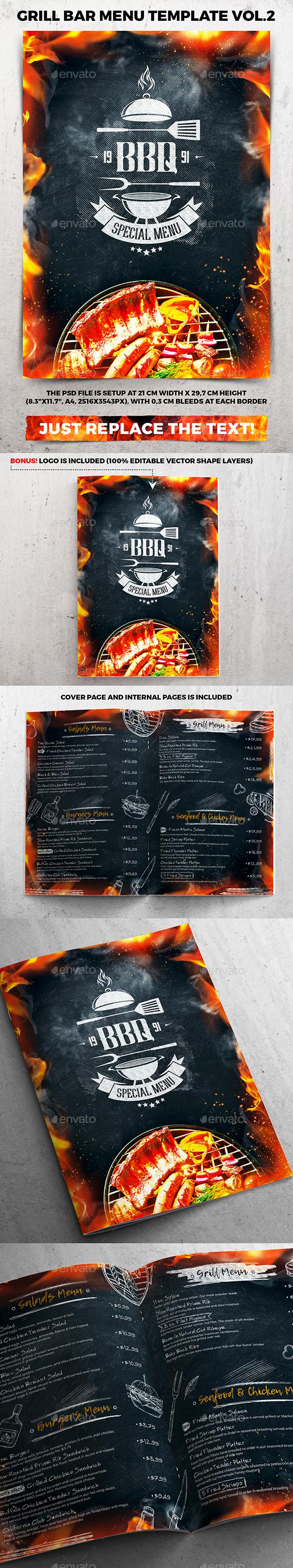 Grill Bar Menu Template vol.2 - Food Menus Print Templates