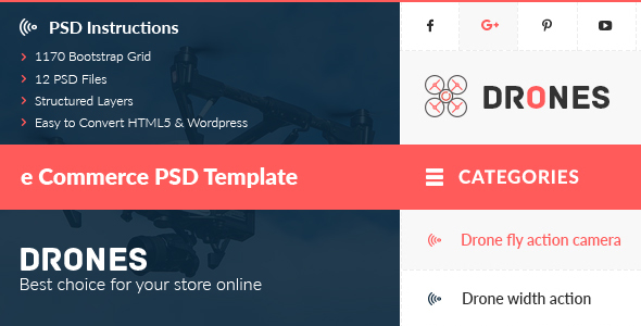 Drones – E-Commerce PSD Template Download