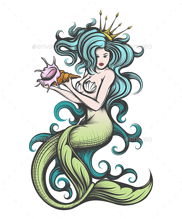 Mermaid with a Seashell in Her Hands
