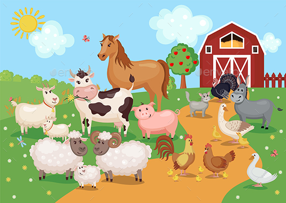 Farm Animals and Birds with Barn House. - Animals Characters