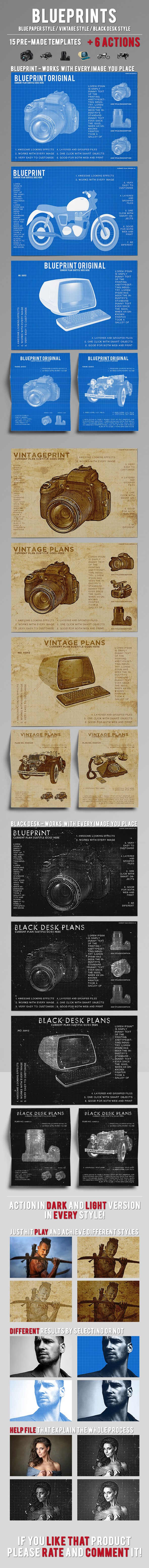 Blueprint, Vintage and Black Chalkboard styles + Actions - Actions Photoshop