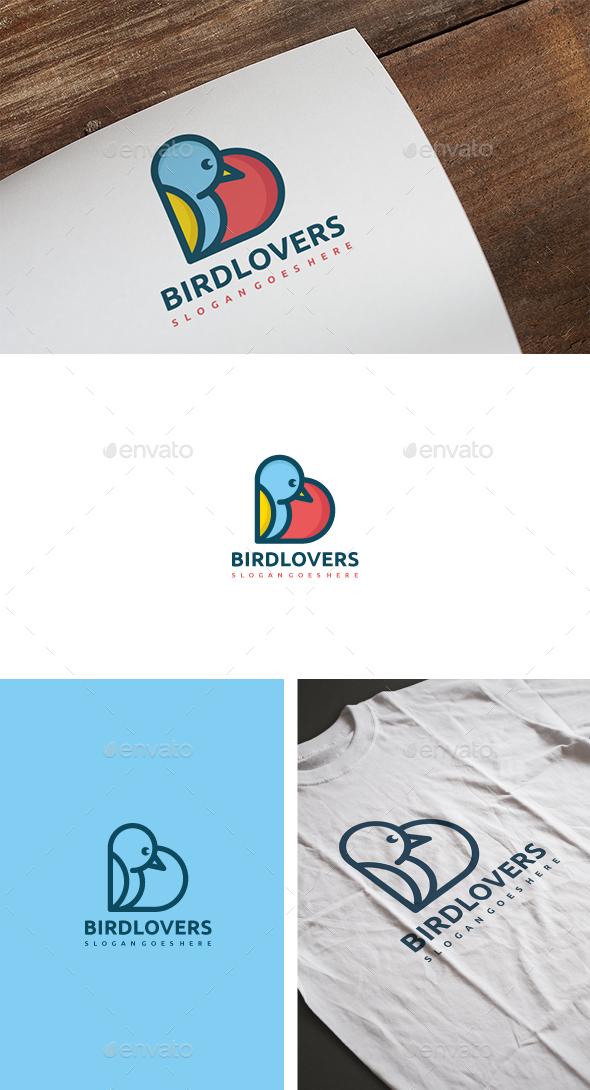 Bird Love Logo - Animals Logo Templates