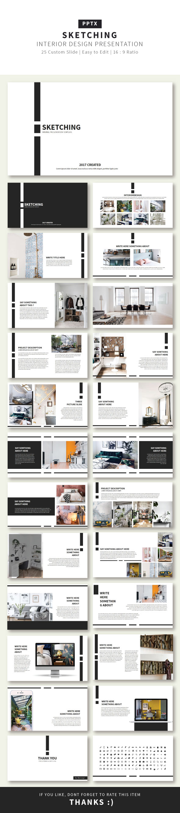 Sketching Presentation Creative Template - Business PowerPoint Templates