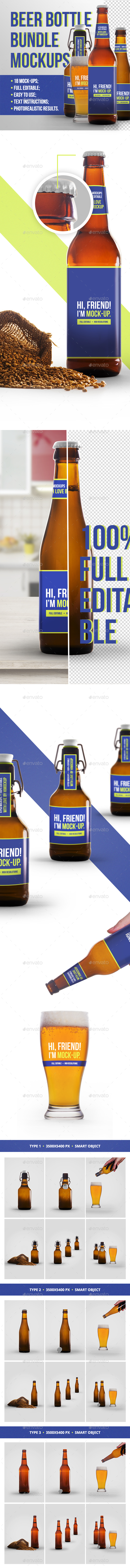 Beer Bottle Mockup Bundle - Food and Drink Packaging