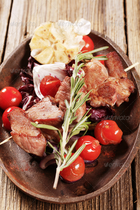 Shish kebab and vegetables - Stock Photo - Images