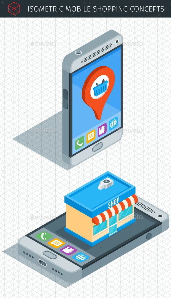 Isometric Mobile Phone - Objects Vectors