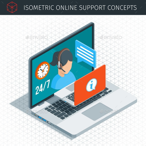 Isometric Online Support Concept - Concepts Business