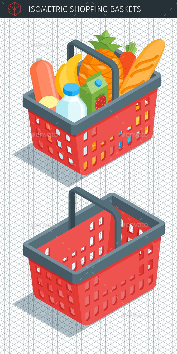 Isometric Red Plastic Shopping Baskets - Objects Vectors