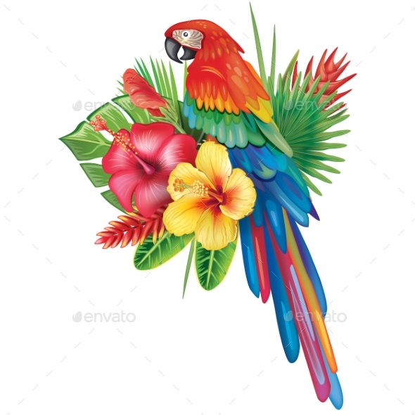 Parrot Ara with Tropical Flowers - Animals Characters