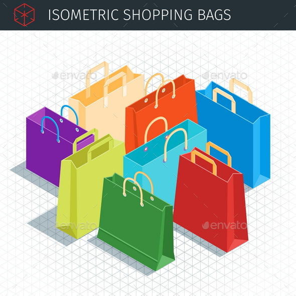 Isometric Shopping Bags - Commercial / Shopping Conceptual