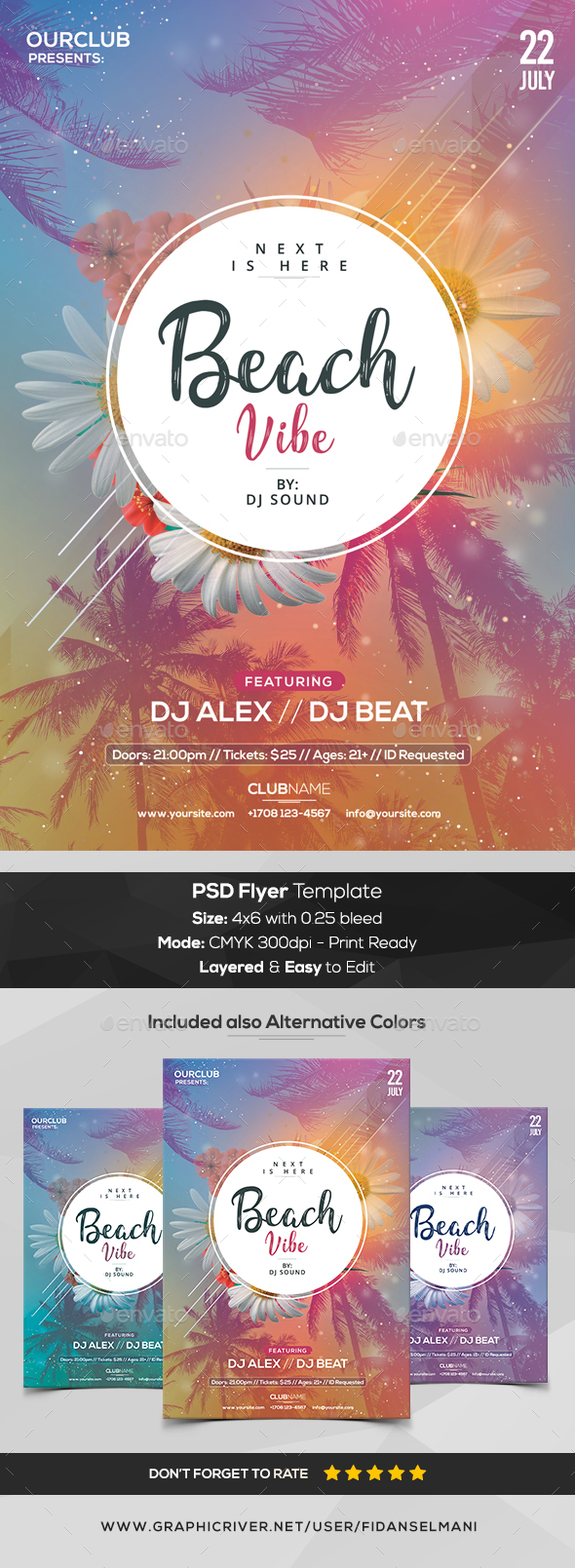 Beach Vibe - PSD Flyer Template - Events Flyers