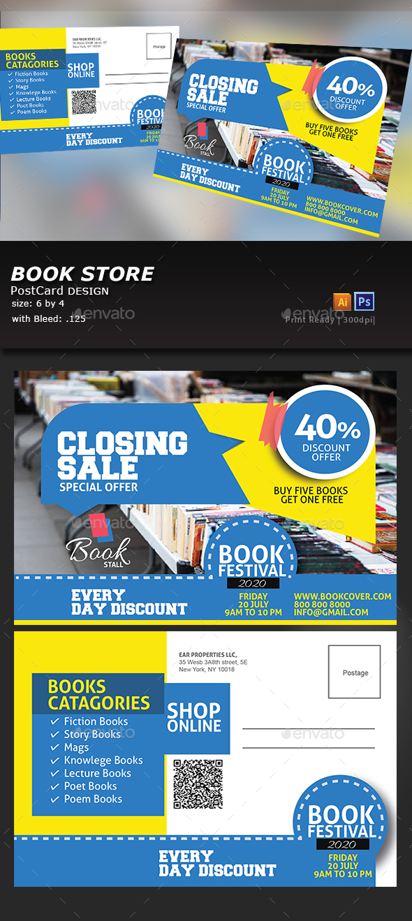 Book Stall Post Card - Cards & Invites Print Templates