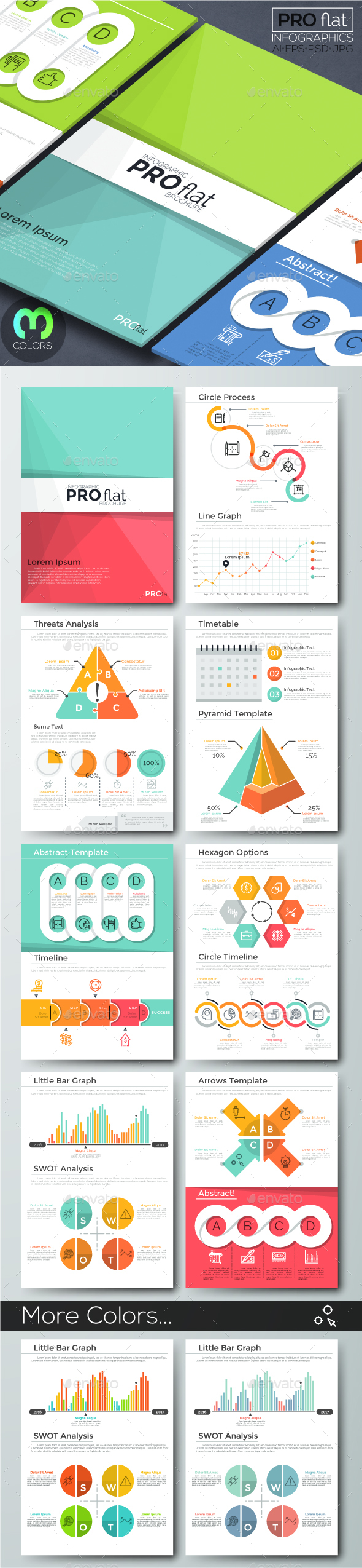 Pro Flat Infographic Brochure 11 (3 Versions) - Infographics