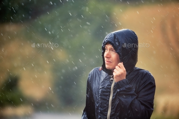 Man with dog in heavy rain - Stock Photo - Images