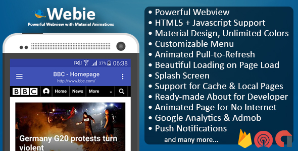 CodeCanyon Webie Animated WebView App for Android with Push Notification AdMob & Lots of Animations 20292693