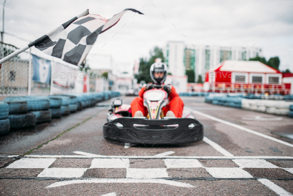 Carting racer on start line, front view - Stock Photo - Images