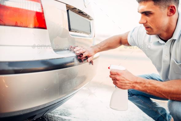 Automobile polishing on car wash station - Stock Photo - Images