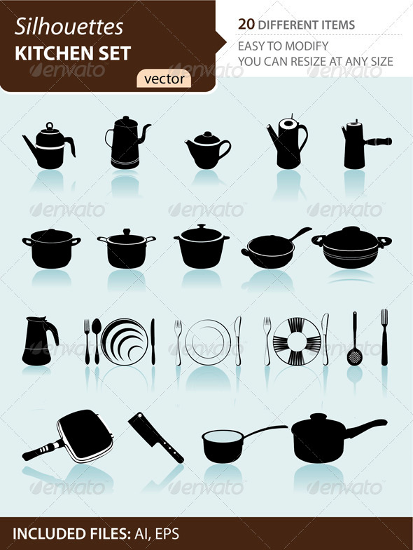 Kitchen set silhouettes - Man-made Objects Objects