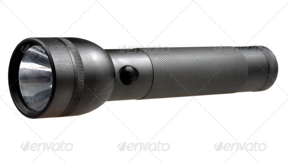 metal tourist electric torch - Stock Photo - Images
