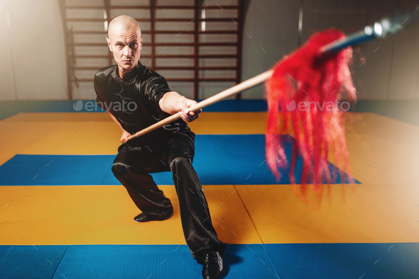 Wushu master training with spear, martial arts - Stock Photo - Images