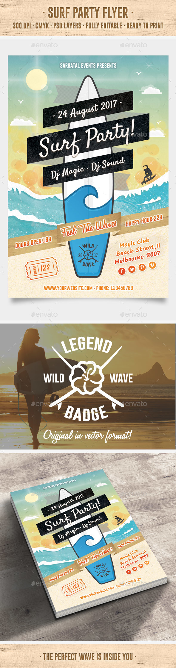 Surf Party Flyer - Clubs & Parties Events