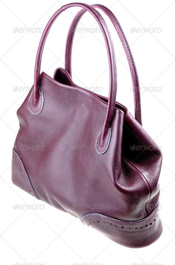 leather cherry bag - Stock Photo - Images