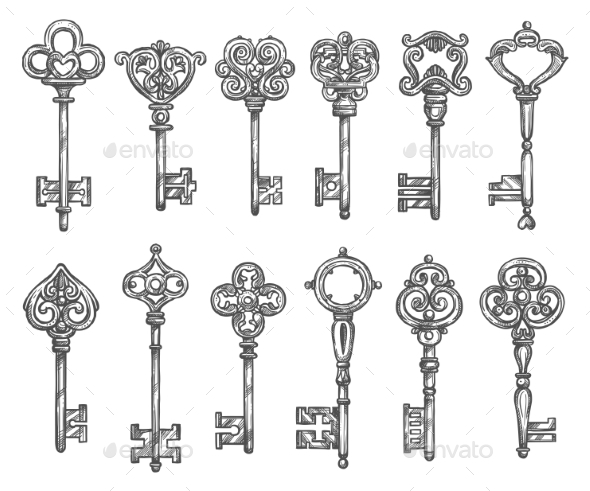 Vintage Keys Vector Isolated Icons Sketch Set - Objects Vectors
