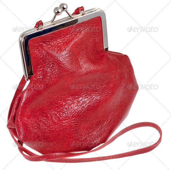 old-fashioned red leather lady's bag - Stock Photo - Images