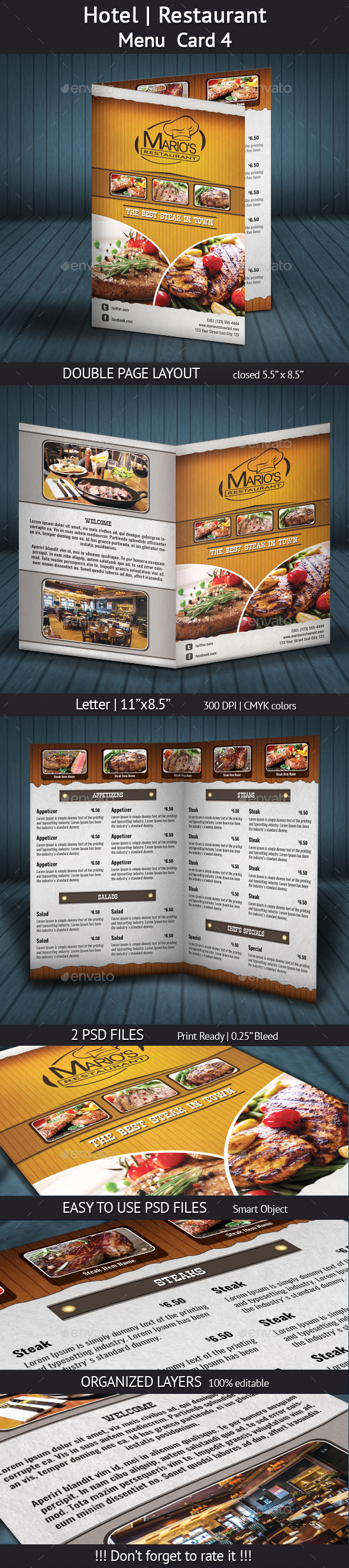 Hotel | Restaurant Menu Card 4 - Food Menus Print Templates