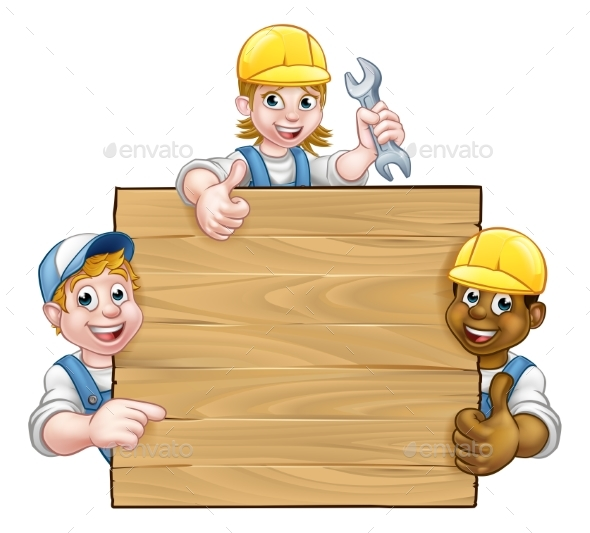 Handyman Workers Background Sign - Miscellaneous Vectors