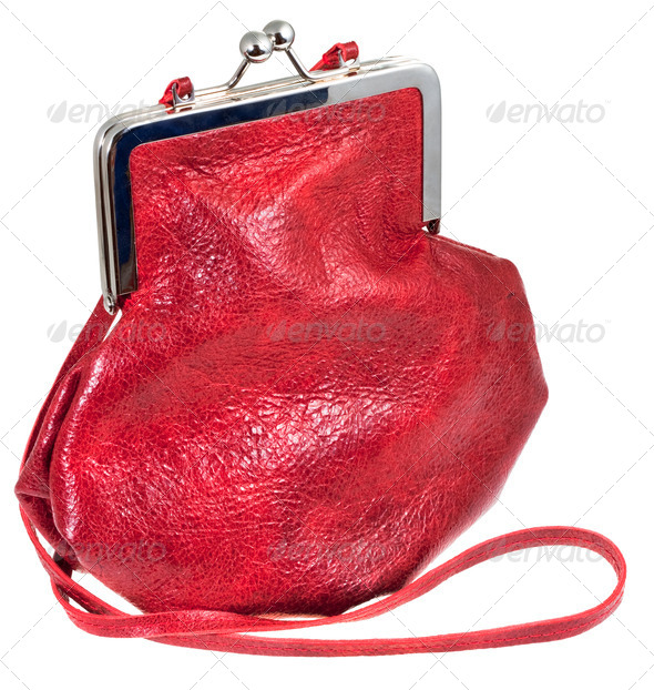 small old-fashioned red leather lady's bag - Stock Photo - Images