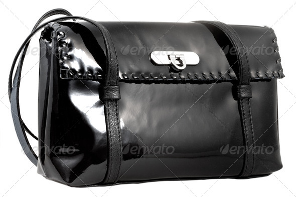 black patent leather woman's bag - Stock Photo - Images